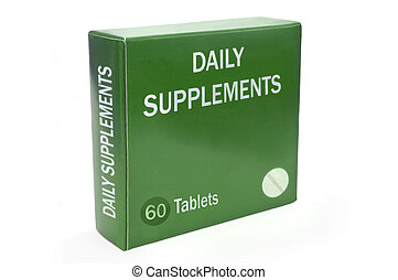 Healthcare supplement concept. - Close up of a green box ...