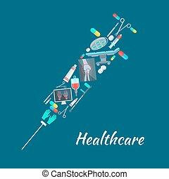 Healthcare surgery medical poster, syringe symbol