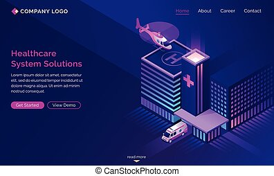 Healthcare system solutions isometric landing page. Helicopter landing on hospital roof, ambulance driving. Medicine technologies, clinic health care infrastructure development 3d vector web banner