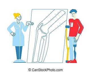 healthcare., tecken, vektor, ben, sjukhus, orthopedy, klinik...