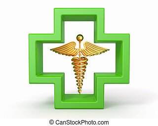 healthcare, und, medizin, symbol., caduseus, in, cross.