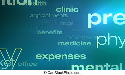 healthcare, und, versicherung, wörter, schleife