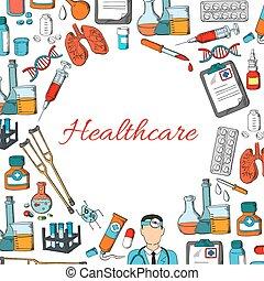 Healthcare vector poster of medicine items