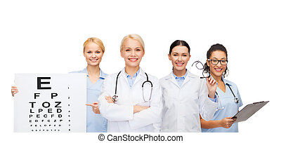 smiling female eye doctors and nurses - healthcare, vision...