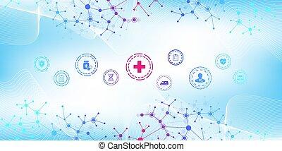 healthcare, wohnung, -, icons., banner, apotheke, medizin, ...
