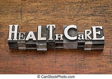 healthcare word in metal type