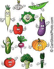 Healthful organic vegetables cartoon characters - Healthful...