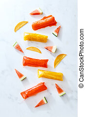 Healthier pop ice popsicles in a vacuum sealer with fruits ...