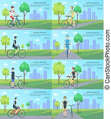 Healthy Active Lifestyle Banners with Man on Bike