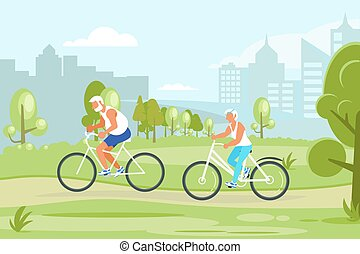 Elderly people characters cycling in the city park