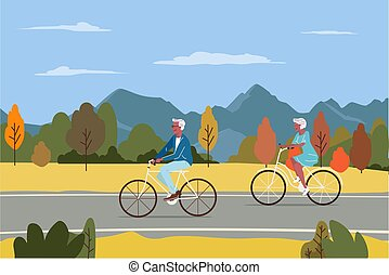 Healthy active lifestyle retiree grandparents. Elderly senior people characters cycling together in the city autumn park cartoon vector illustration.