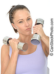 Healthy Aggressive Young Woman Training With Dumb Bell Weights