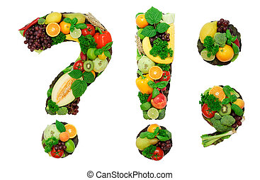 Healthy alphabet - supplement - Letters made from fresh ...