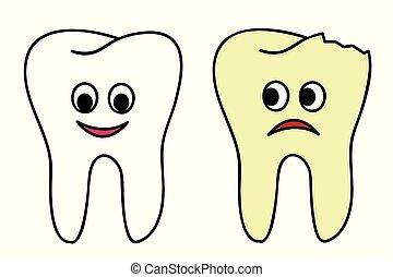 healthy and broken tooth cartoon