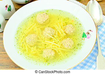 Healthy and Diet Food: Chicken Soup with Meatballs.