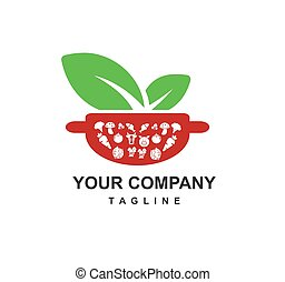healthy and fresh raw food nutrition for diet and restaurant recipe vector logo
