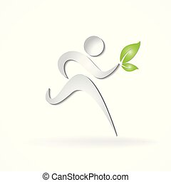Healthy and happy runner logo