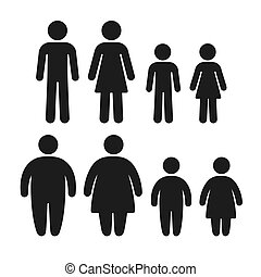 Healthy and obese icon set