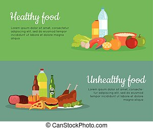 Healthy and Unhealthy Food Banner Poster - Healthy and...