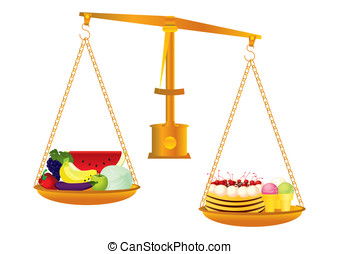 Healthy and unhealthy food - Concept of healthy and...