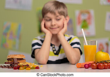 Healthy and unhealthy food - Image of boy and choice between...