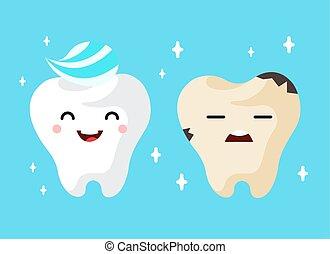 Healthy and unhealthy sad tooth cartoon characters. vector...