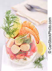 healthy appetizer with shrimp