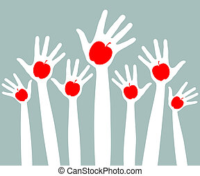 Healthy apple hands design. - Large group of hands and arms...