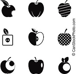 Healthy apple icon set, simple style