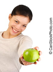 Healthy apple woman