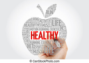 HEALTHY apple word cloud with marker