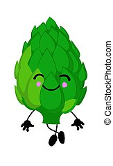 Healthy artichoke, organic farm product. Green vegetable, made in cartoon flat style. Vector illustration.