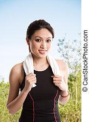 Healthy asian woman
