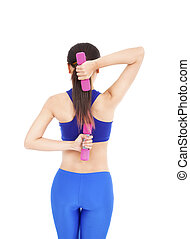 Healthy asian woman with dumbbells working out