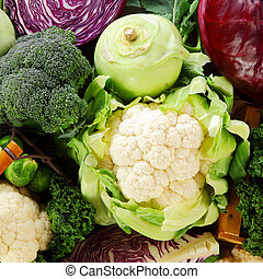 Healthy background of cruciferous vegetables of the Brassica...