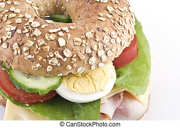 Healthy bagel sandwich. - Close up of a healthy bagel ...