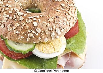 Healthy bagel sandwich. - Close up of a healthy bagel...