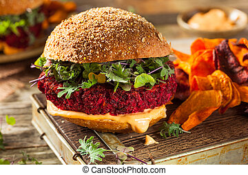 Healthy Baked Red Vegan Beet Burger with Microgreens