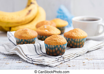 Healthy banana muffins with oat flakes