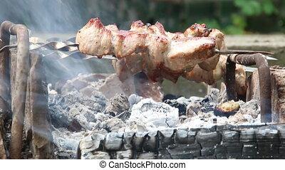 Healthy barbecued lean cubed pork kebabs - Hot shish kebab...