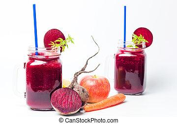 Healthy beet smoothie in a jar