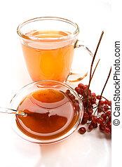 healthy beverage - beverage series: cup of tea, viburnum and...
