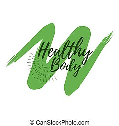 Healthy Body label. Eco style and Wellness Life. Healthy Lifestyle badges. Vector illustration icon with Sunburst
