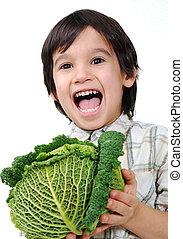 healthy boy kid with food
