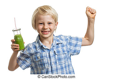 Healthy boy with green smoothie - A healthy cute boy holding...