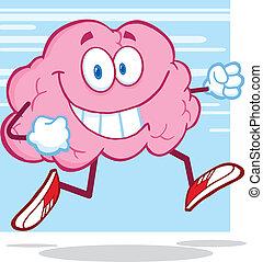Healthy Brain Character Jogging - Healthy Brain Cartoon...