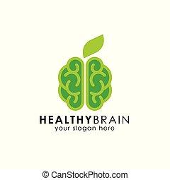 healthy brain logo design. green brain vector icon