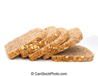 Healthy bran bread slices with rolled oats isolated on white background