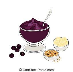 healthy breakfast - acai bowl with granola and banana