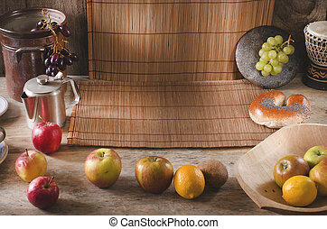 Healthy breakfast background with copy space. Diet concept.
